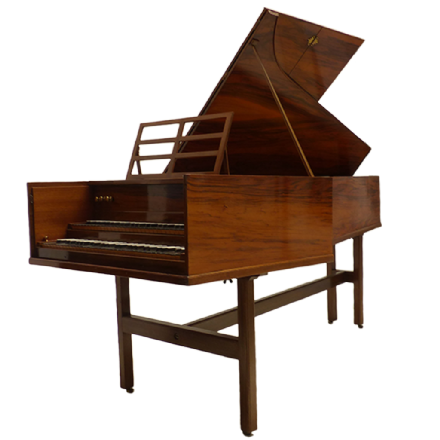 John Morley Double Manual Harpsichord Walnut (after Kirkmann) c1958